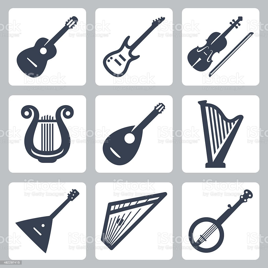 Vector musical instruments: strings vector art illustration