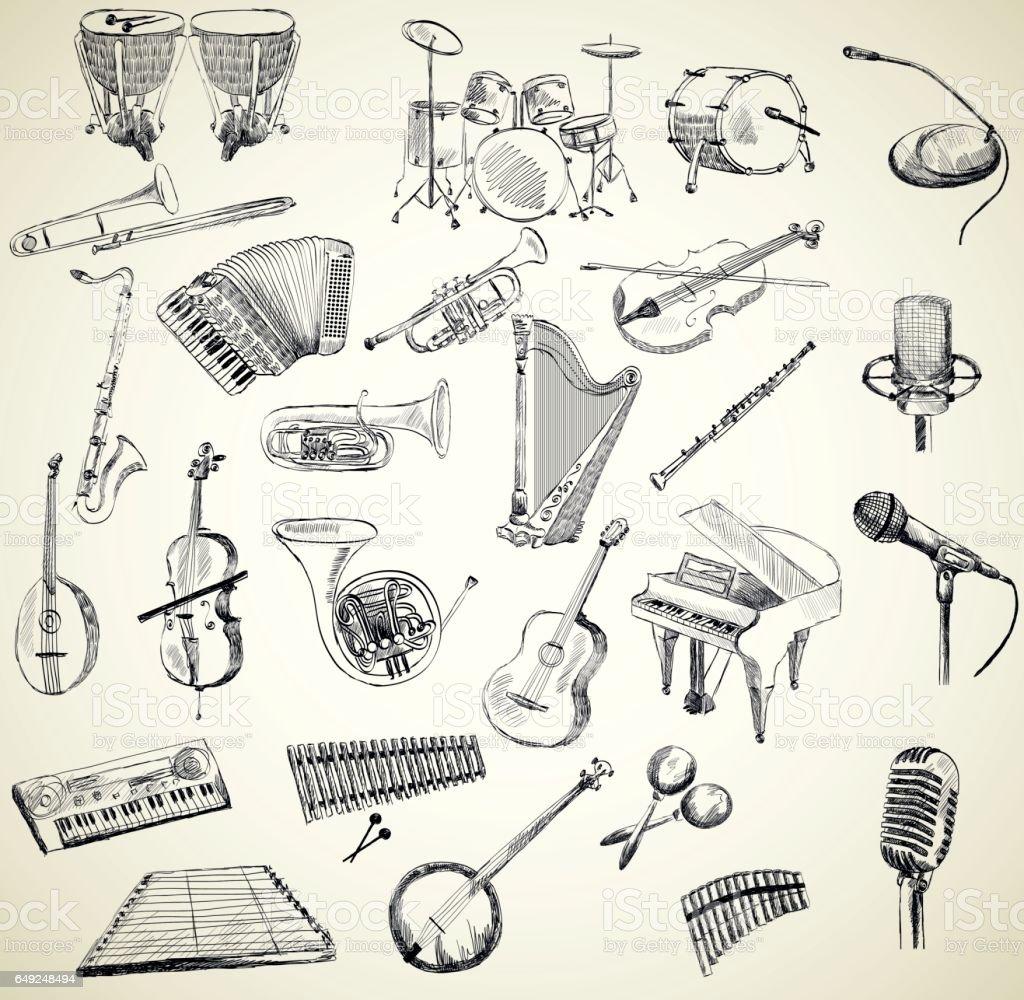 Vector musical instruments vector art illustration