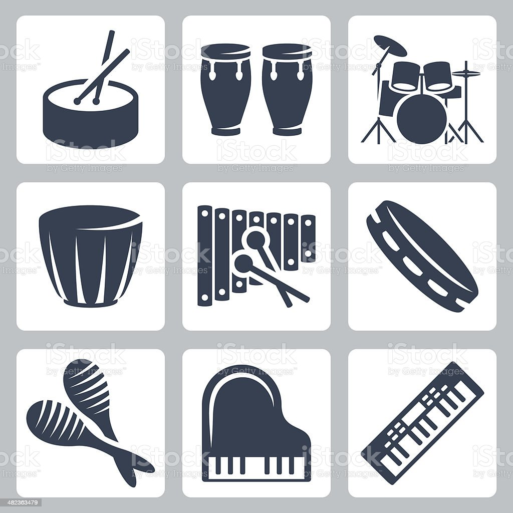 Vector musical istruments: drums and keyboards vector art illustration