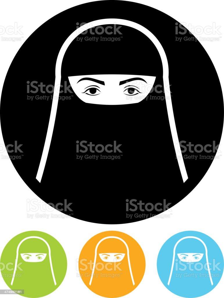 Vector muslim woman in burqa vector art illustration