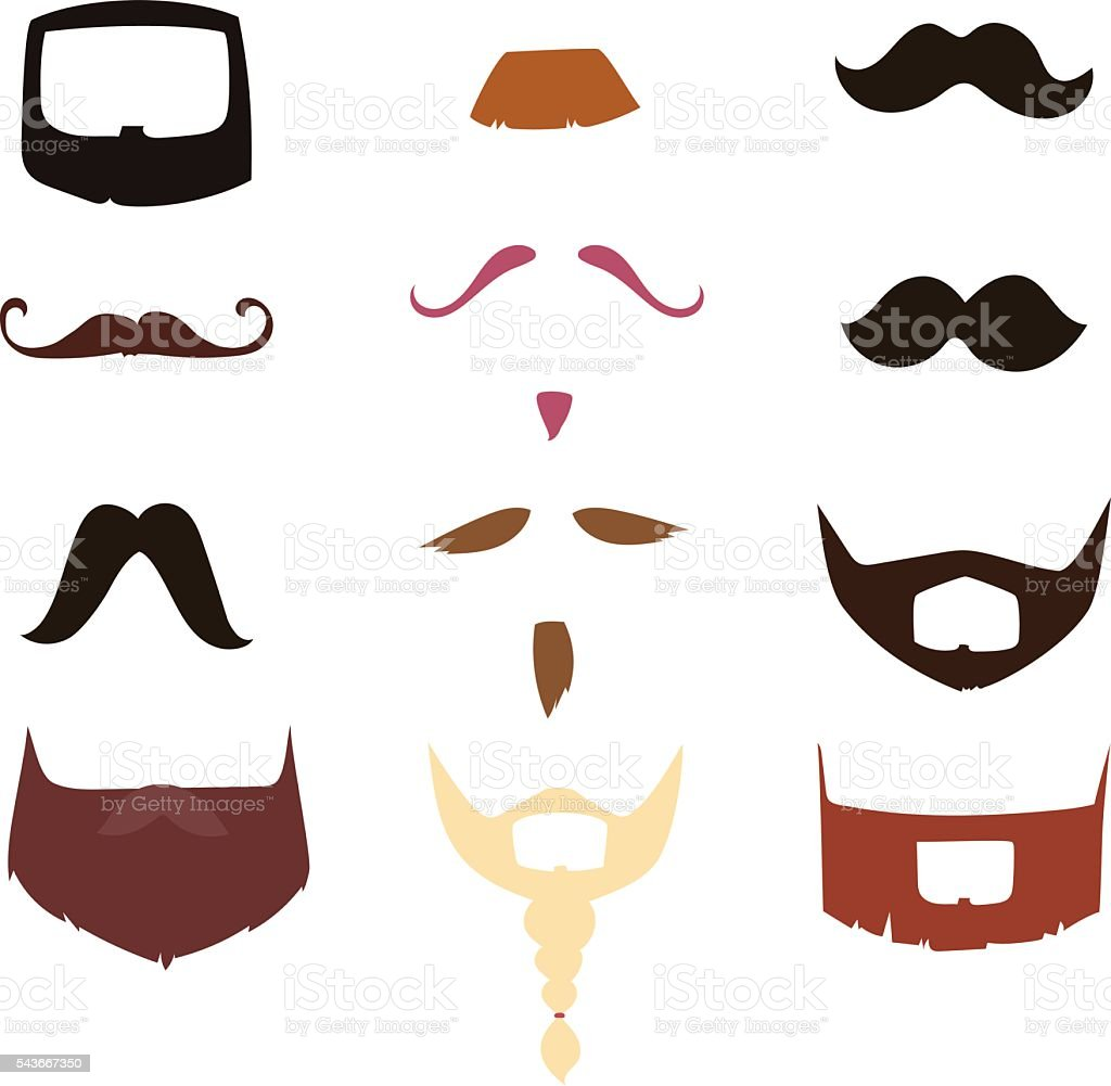 Vector mustache silhouette isolated vector art illustration