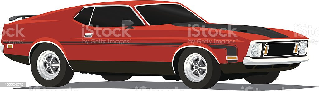 Vector Mustang Mach1 - 1973 vector art illustration