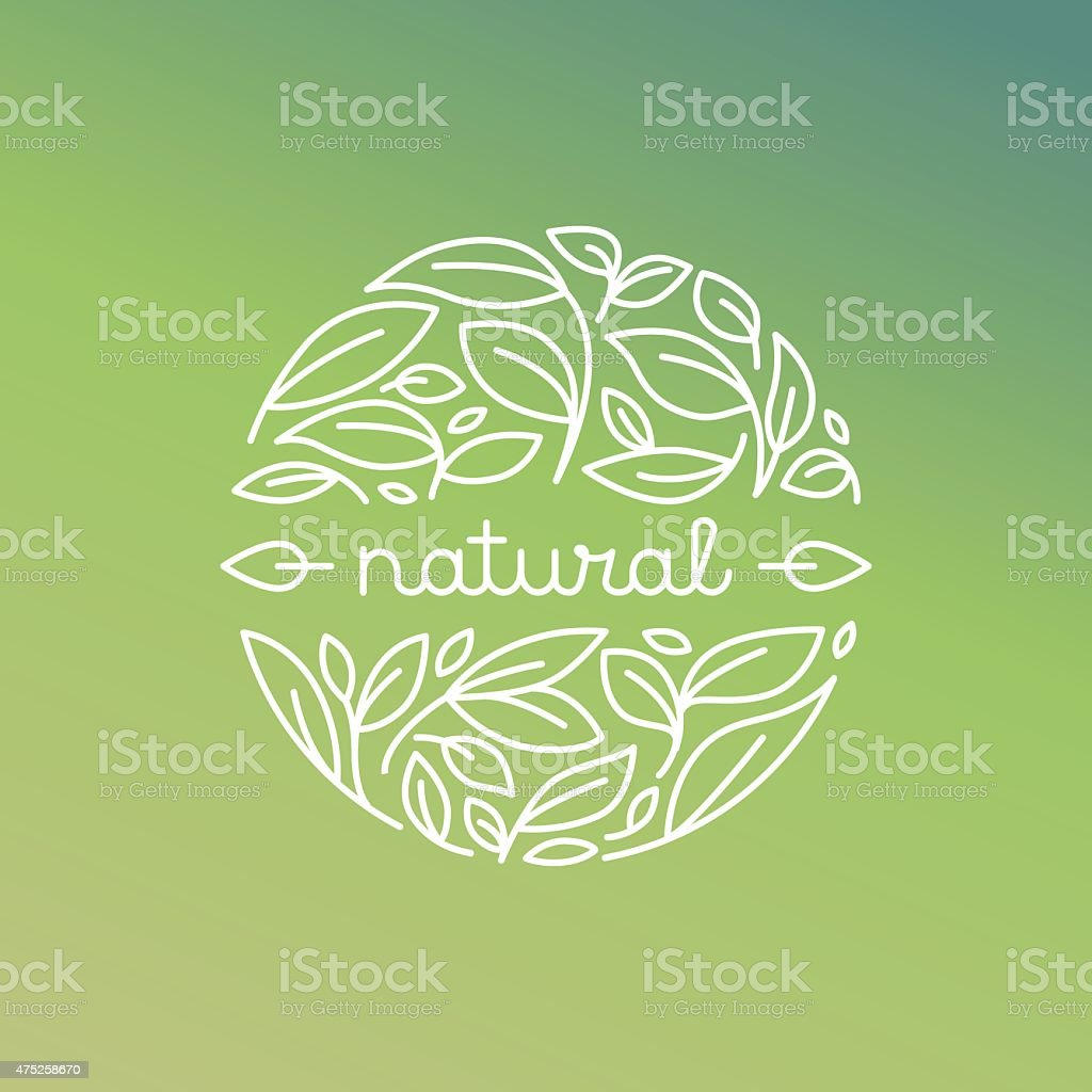 Vector natural label in trendy linear style vector art illustration
