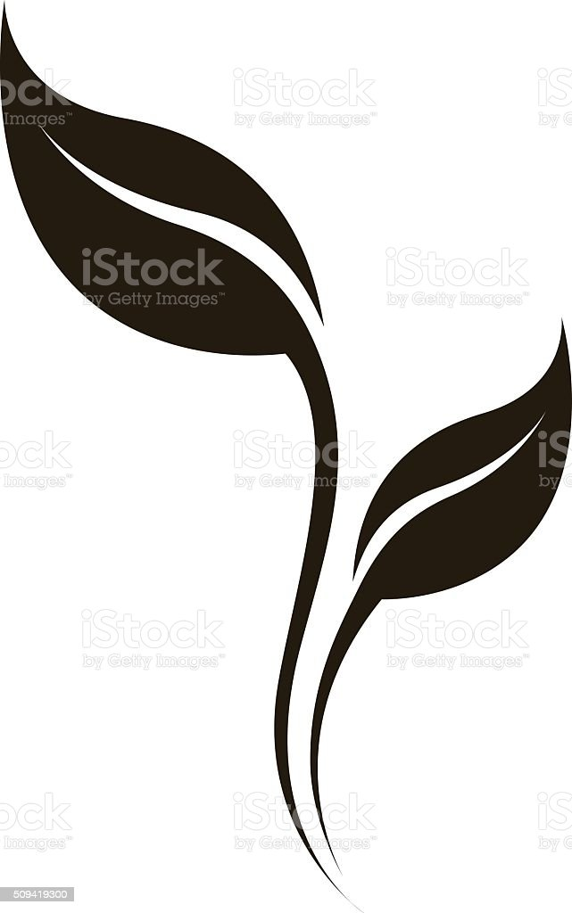 Vector natural silhouette of leaf isolated on white. vector art illustration
