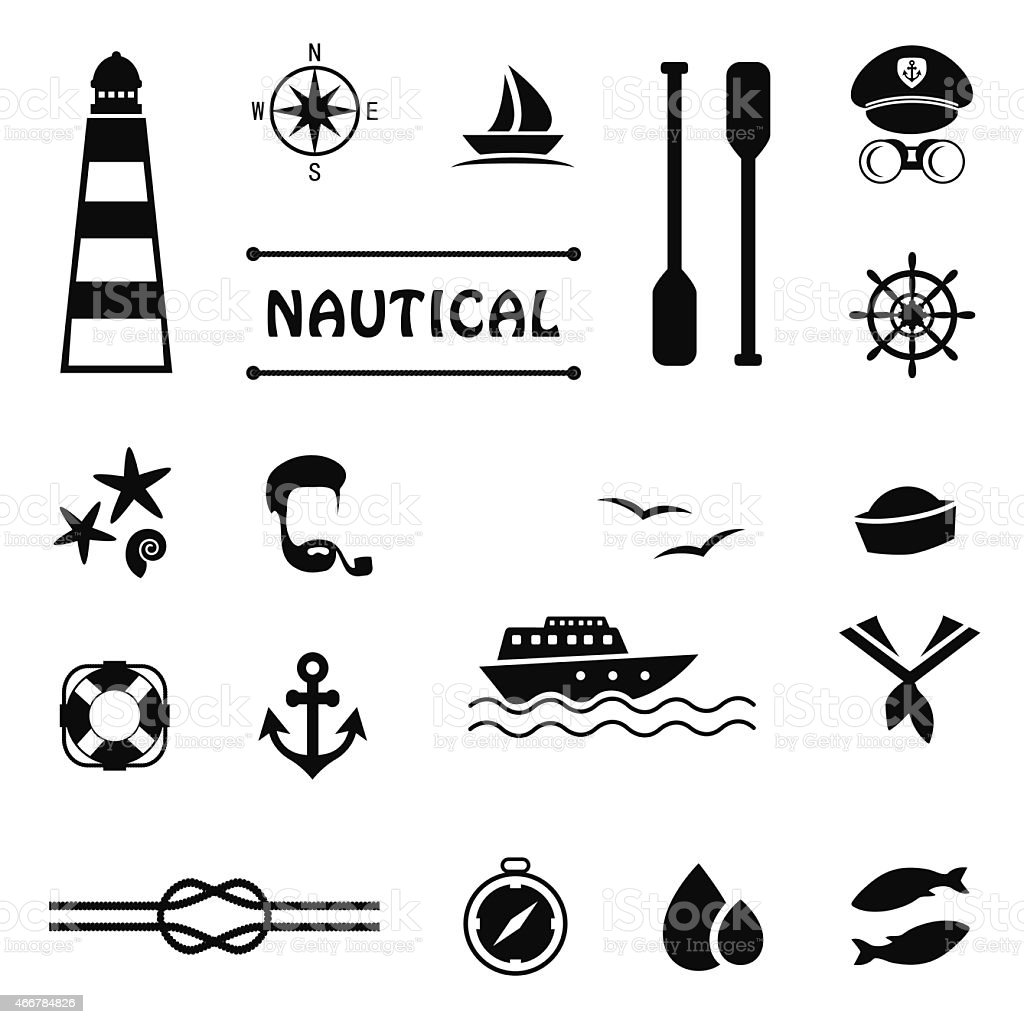 vector nautical icons vector art illustration
