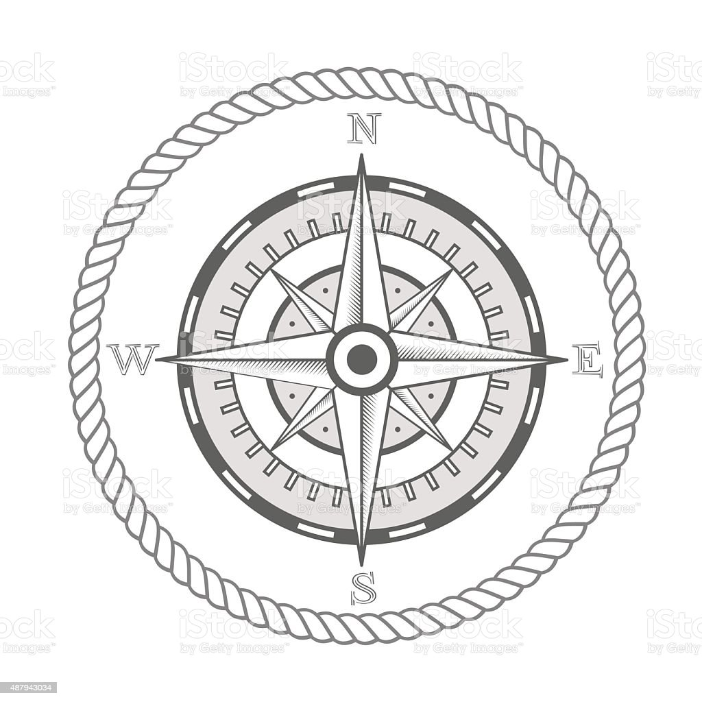 vector nautical label. vintage compass, icon and design element. vector art illustration