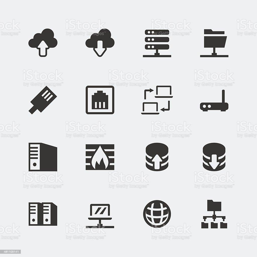 Vector network mini icons set vector art illustration