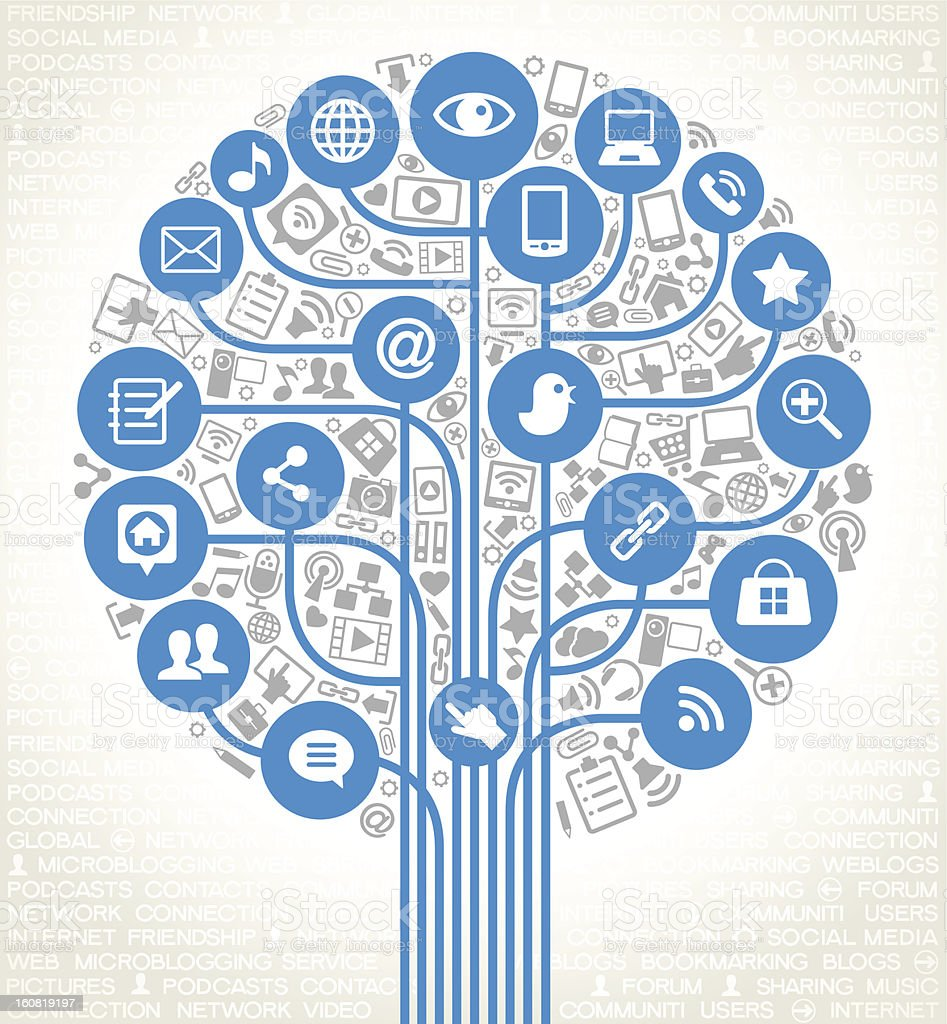 vector network tree with social media icons royalty-free stock vector art