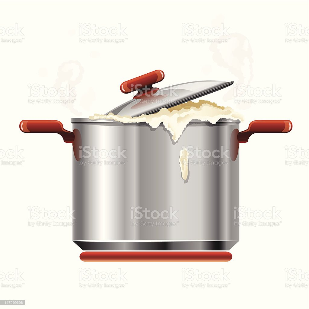 vector new silver pan tableware boiling isolated vector art illustration