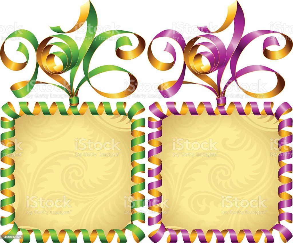 Vector New Year 2016 circle frame set. Purple and green vector art illustration