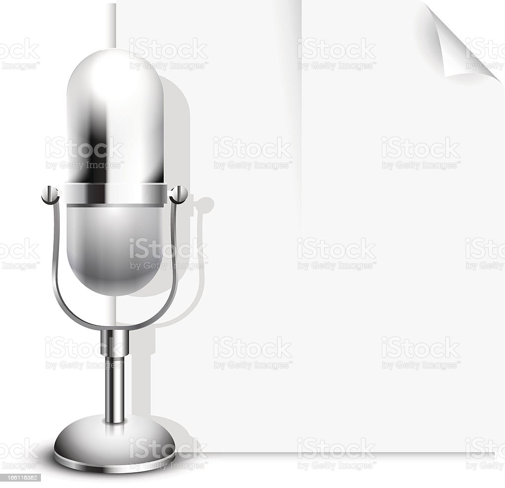 Vector News Icon with a Retro Classic Microphone royalty-free stock vector art