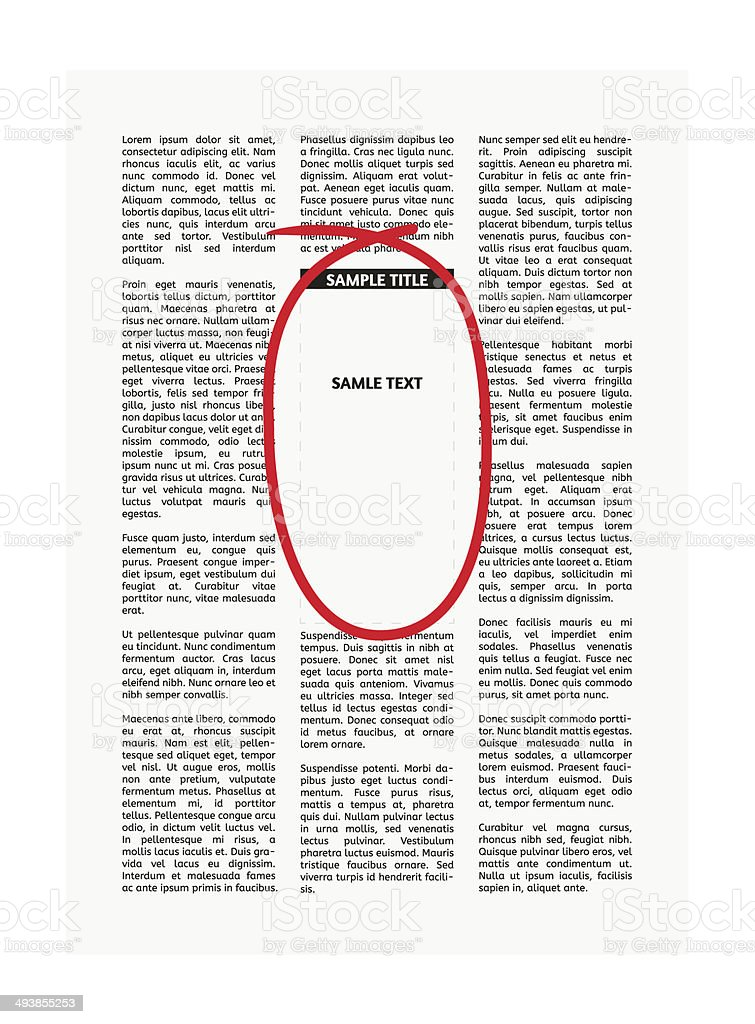 vector newspaper with highlighting vector art illustration