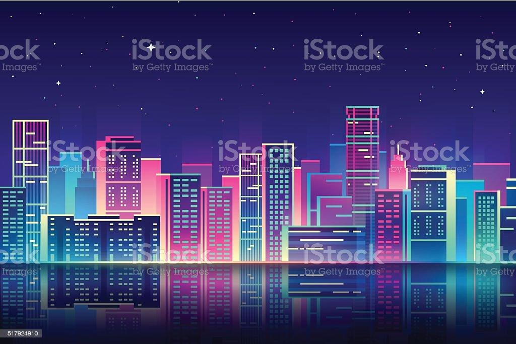 Vector night city with neon glow illustration. vector art illustration