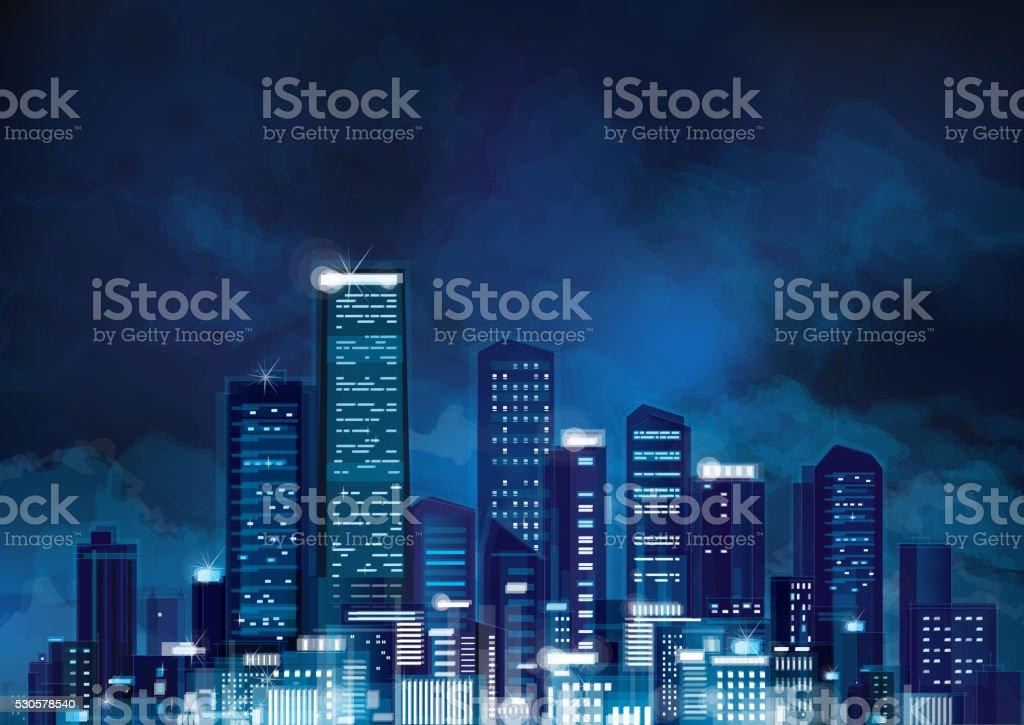 Vector night cityscape. vector art illustration