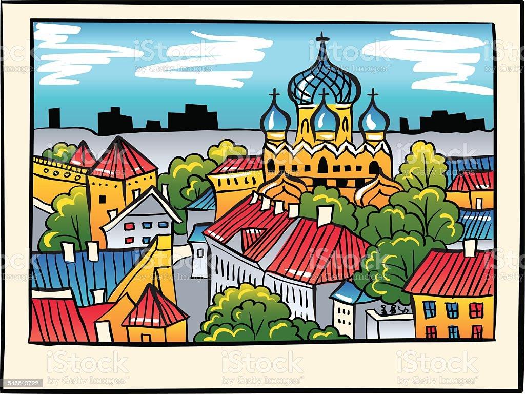 Vector night Medieval Old Town, Tallinn, Estonia vector art illustration