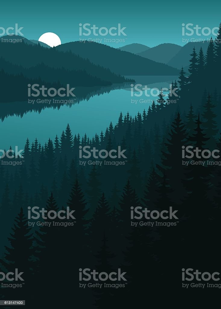 vector night river in mountains vector art illustration