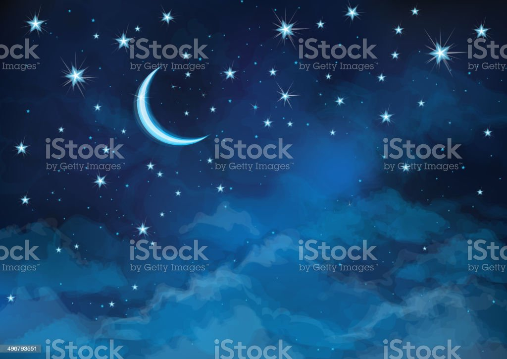 Vector night sky background stars and moon. vector art illustration