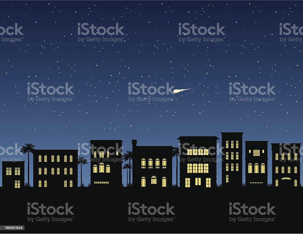Vector Night Skyline vector art illustration