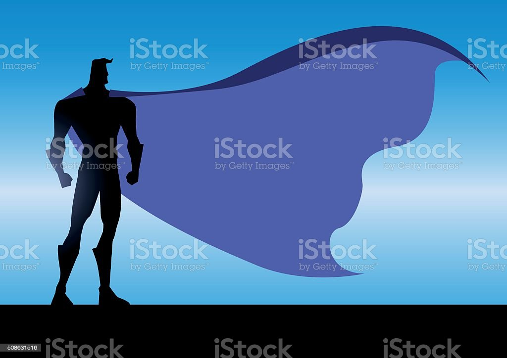Vector  Night Superhero silhouette vector art illustration