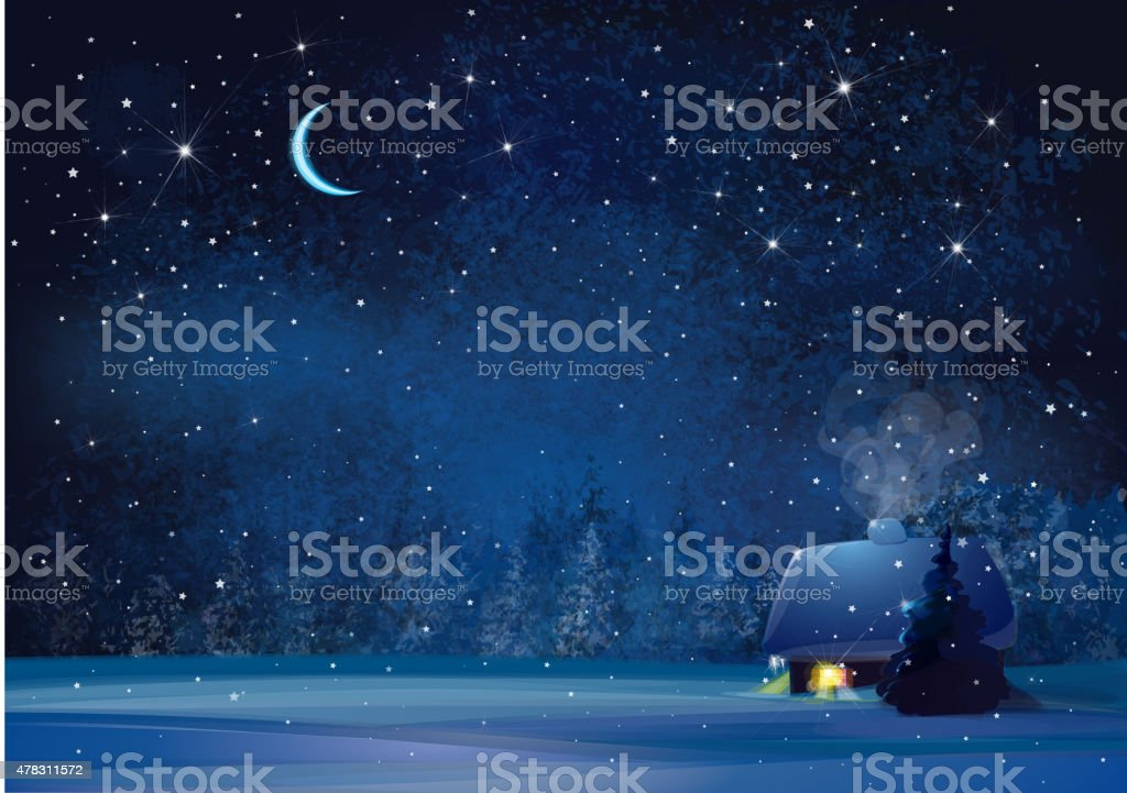 Vector night winter landscape. vector art illustration