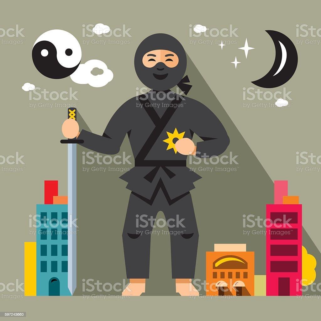 Vector Ninja in the night city. Flat style colorful Cartoon vector art illustration