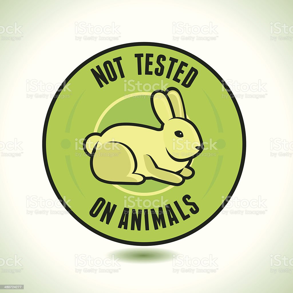 Vector not tested on animals label vector art illustration
