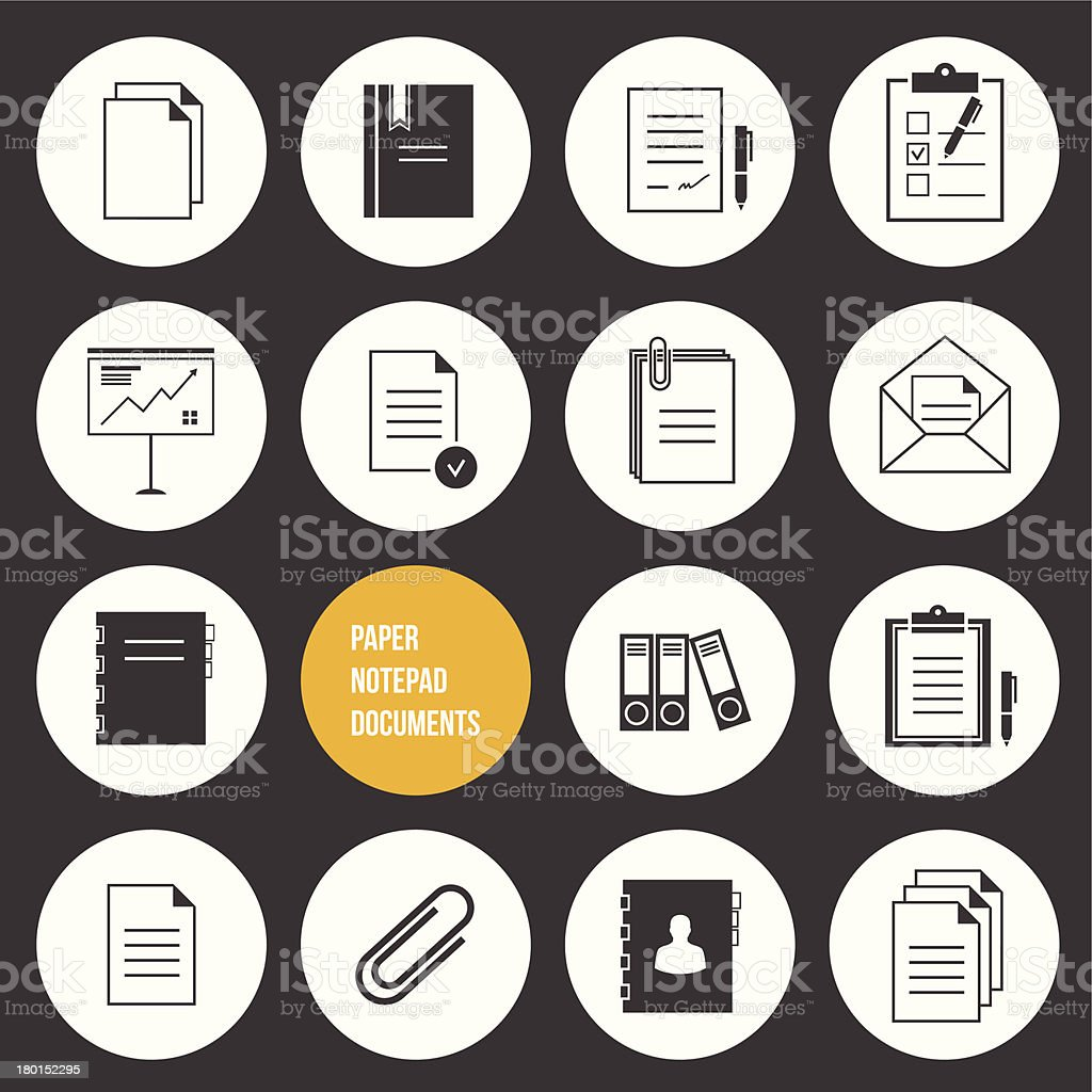 Vector Notepad Paper Documents Icons Set royalty-free stock vector art