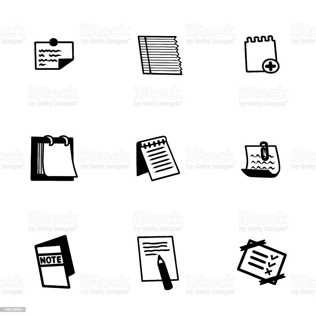 Vector notes icon set vector art illustration