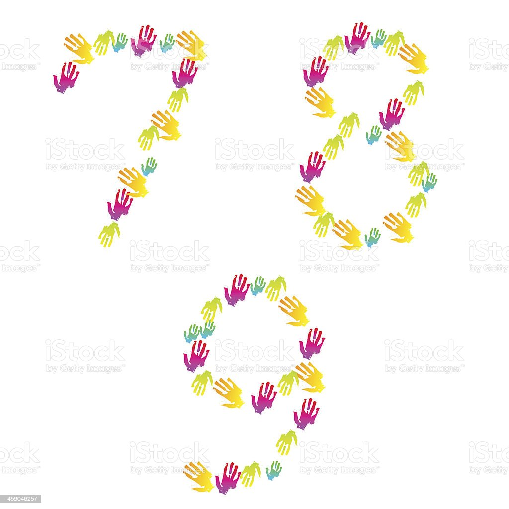 Vector number of hands isolated on white. Eps 10 royalty-free stock vector art