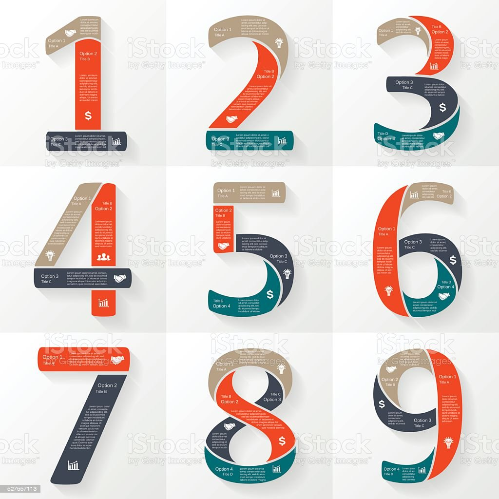 Vector numbers infographics, font diagrams. vector art illustration