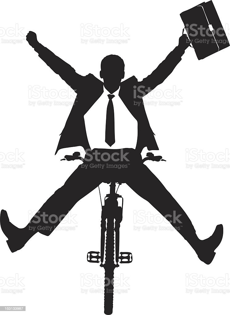 Vector of a businessman on bicycle vector art illustration