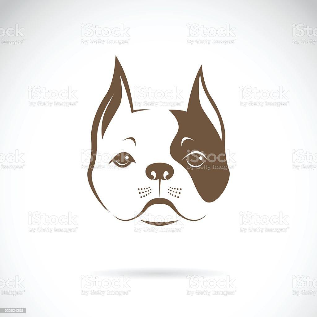 Vector of a dog face on a white background. Bulldog. vector art illustration