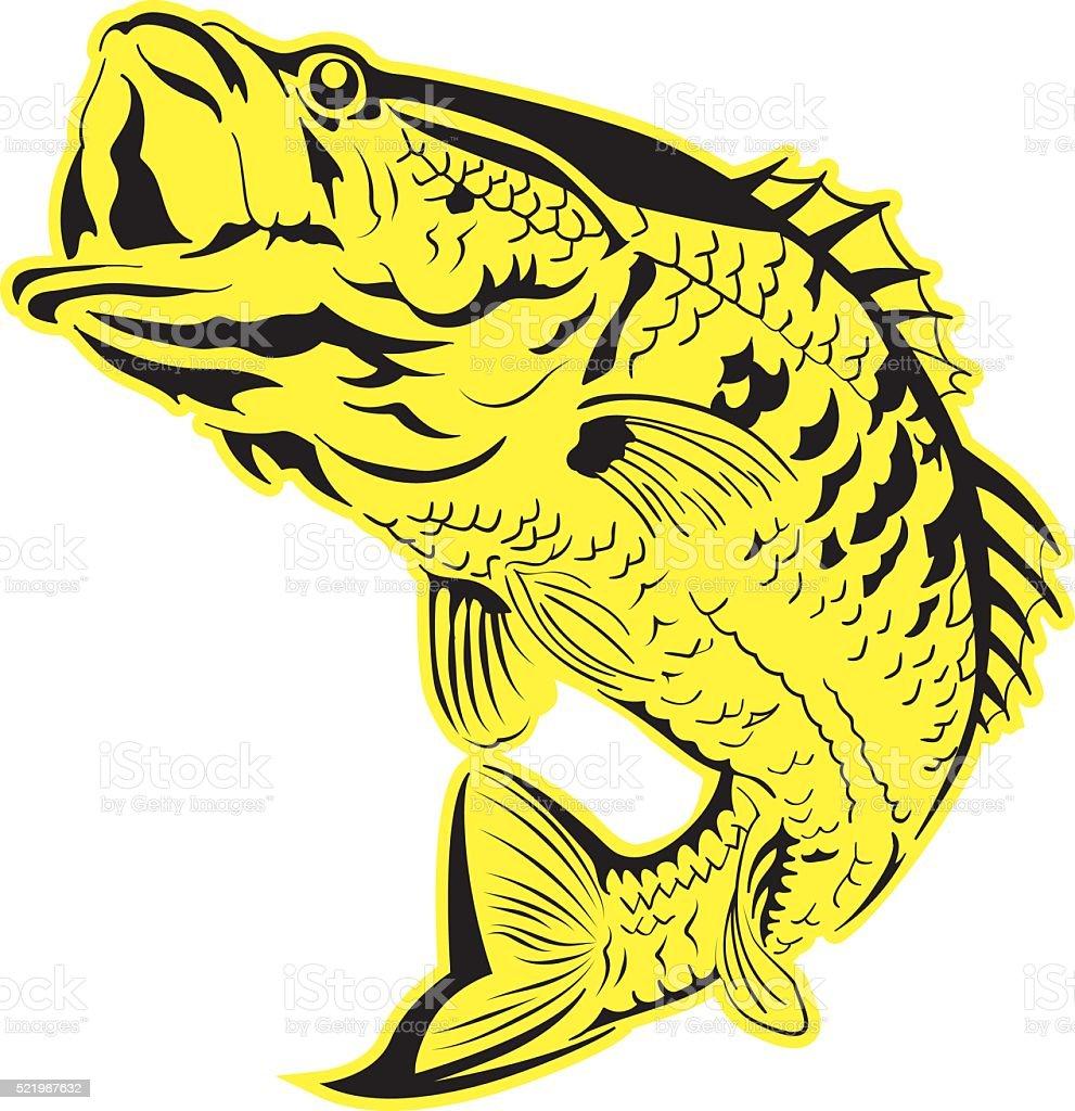 Freshwater fish jumping - Vector Of A Fish Jumping Royalty Free Stock Vector Art
