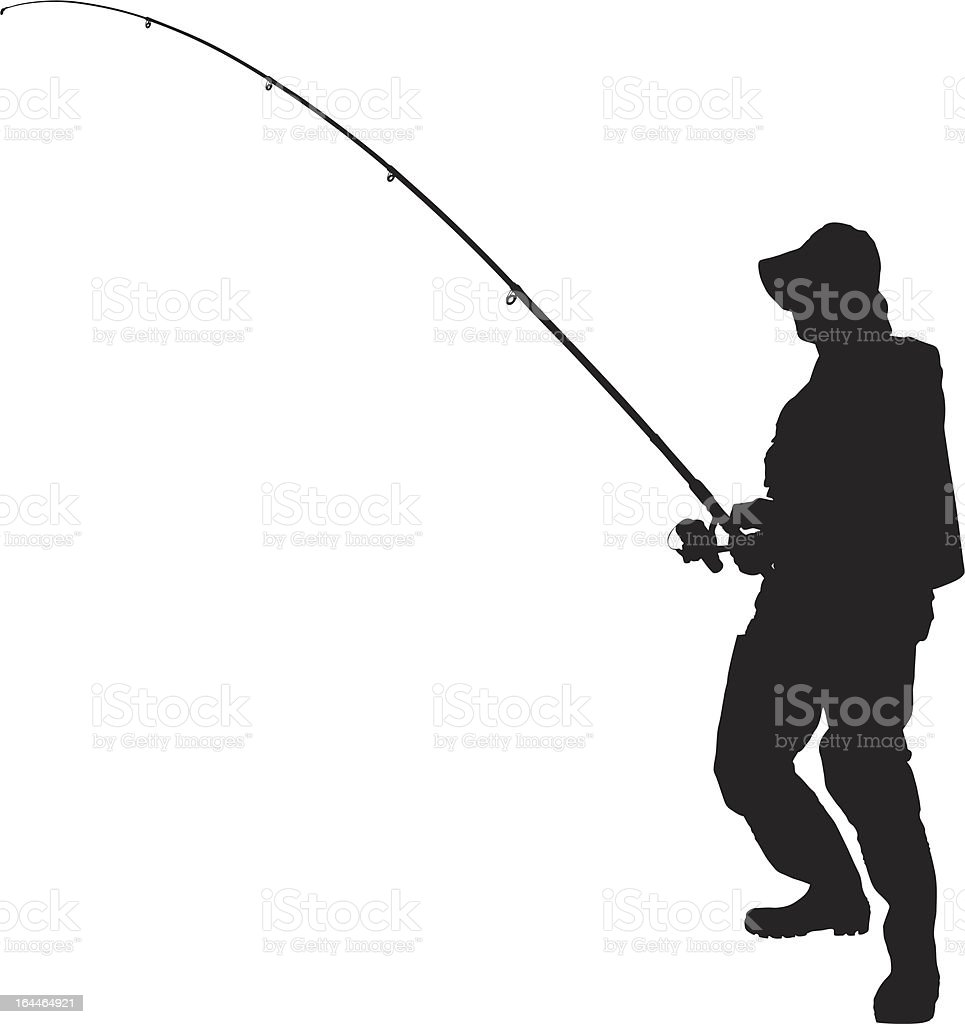 Vector of a fisherman holding fishing pole vector art illustration