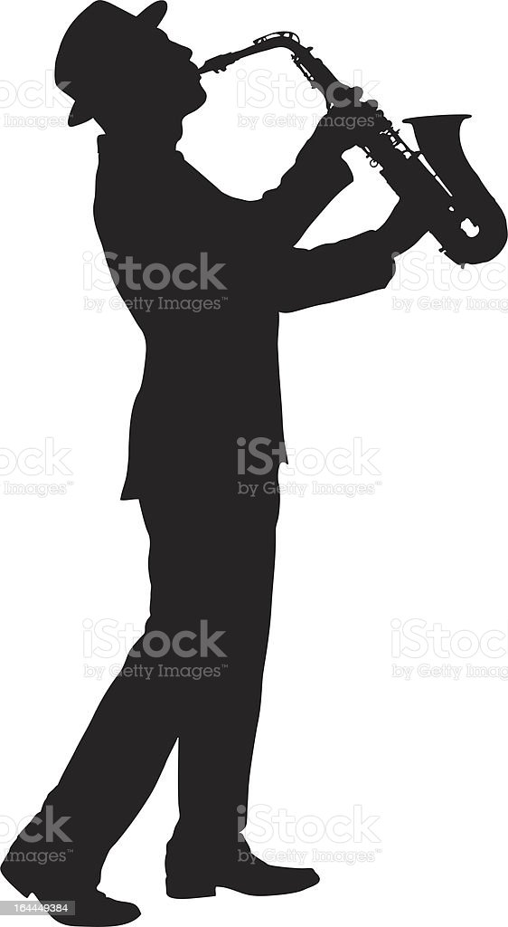 Vector of a man playing on saxophone vector art illustration