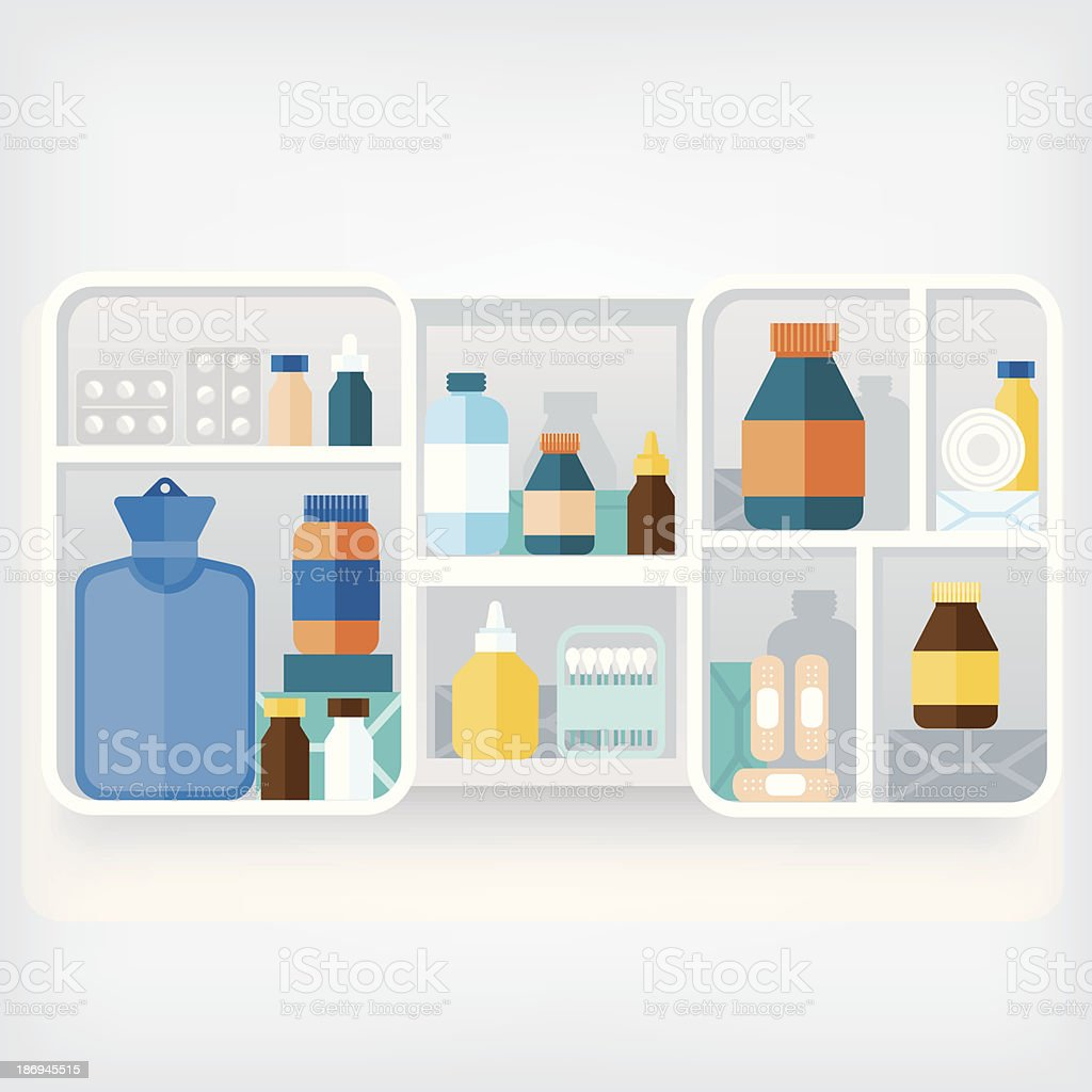 Vector of a medicine cabinet with three compartments vector art illustration