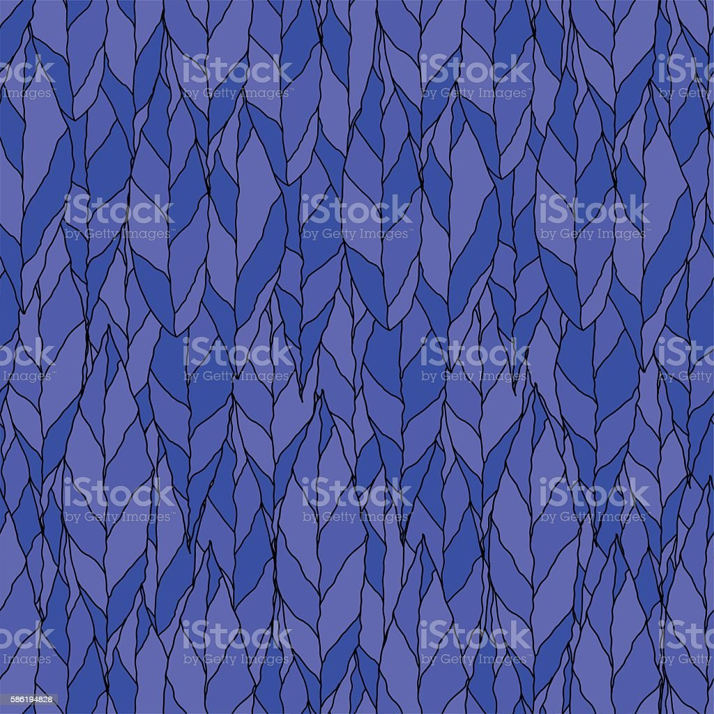 Vector of a seamless pattern of Blue leaves vector art illustration