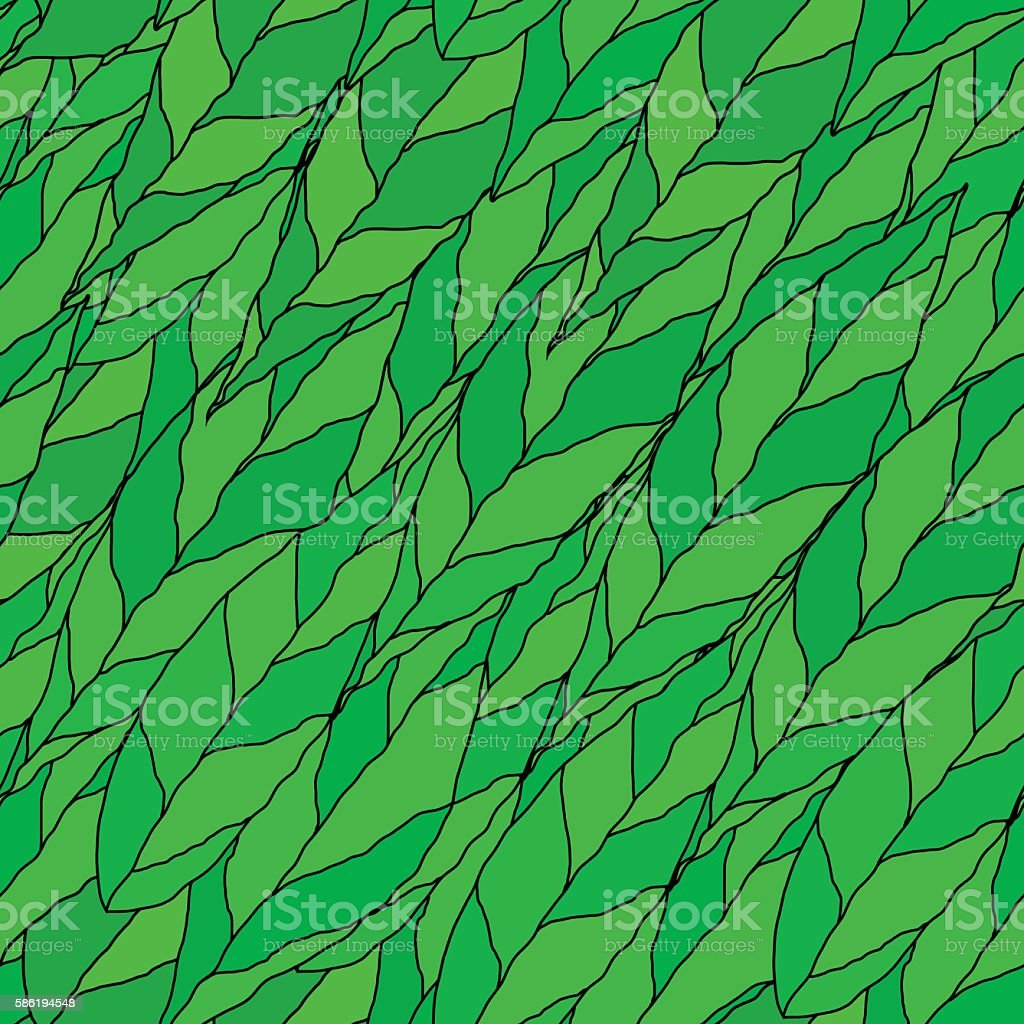 Vector of a seamless pattern of green leaves vector art illustration