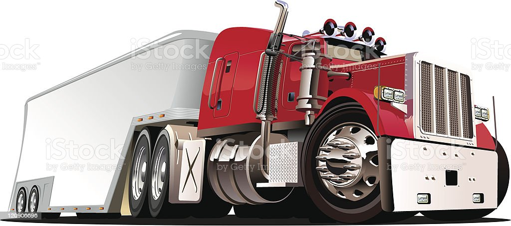A 3D vector of a semi-truck on a white background vector art illustration