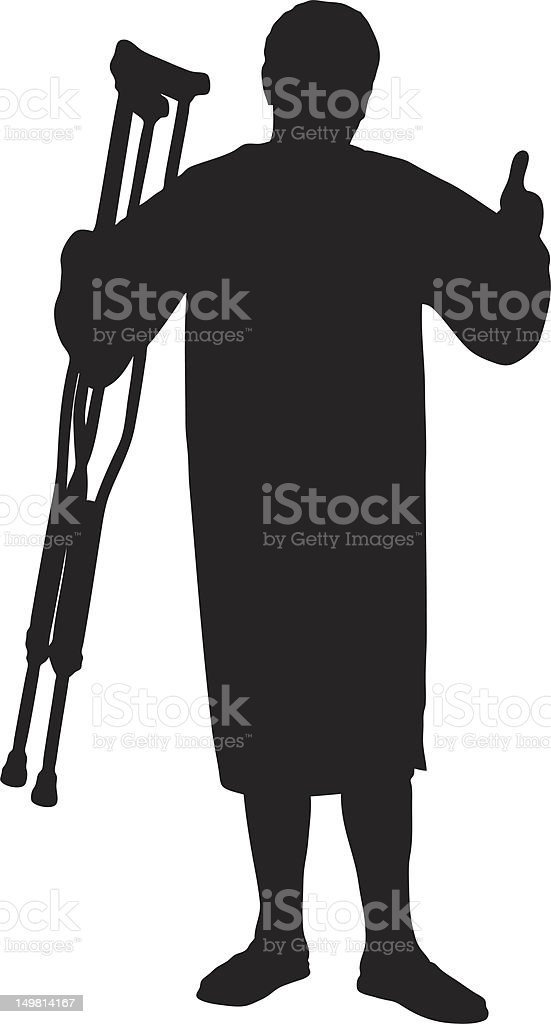 Vector of a senior patient holding crutches royalty-free stock vector art