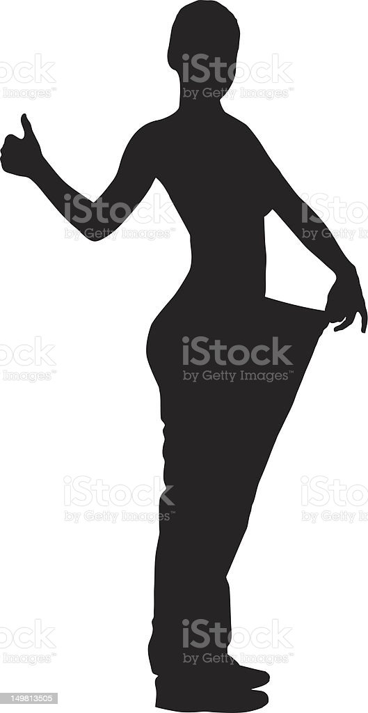 Vector of a weightloss woman giving thumb up royalty-free stock vector art