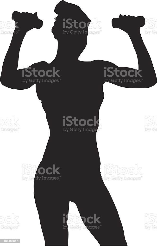 Vector of a woman exercising with dumbbels vector art illustration