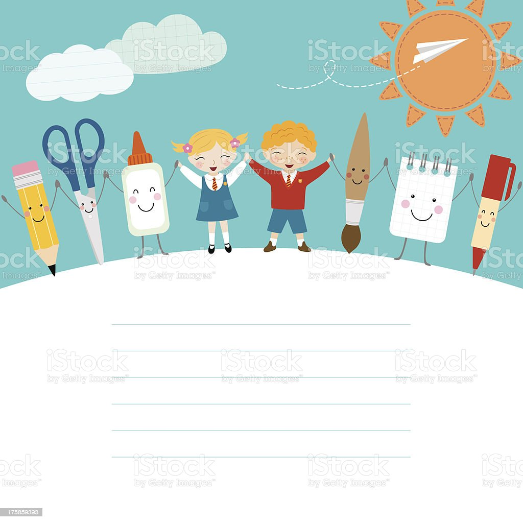 Vector of back to school images vector art illustration