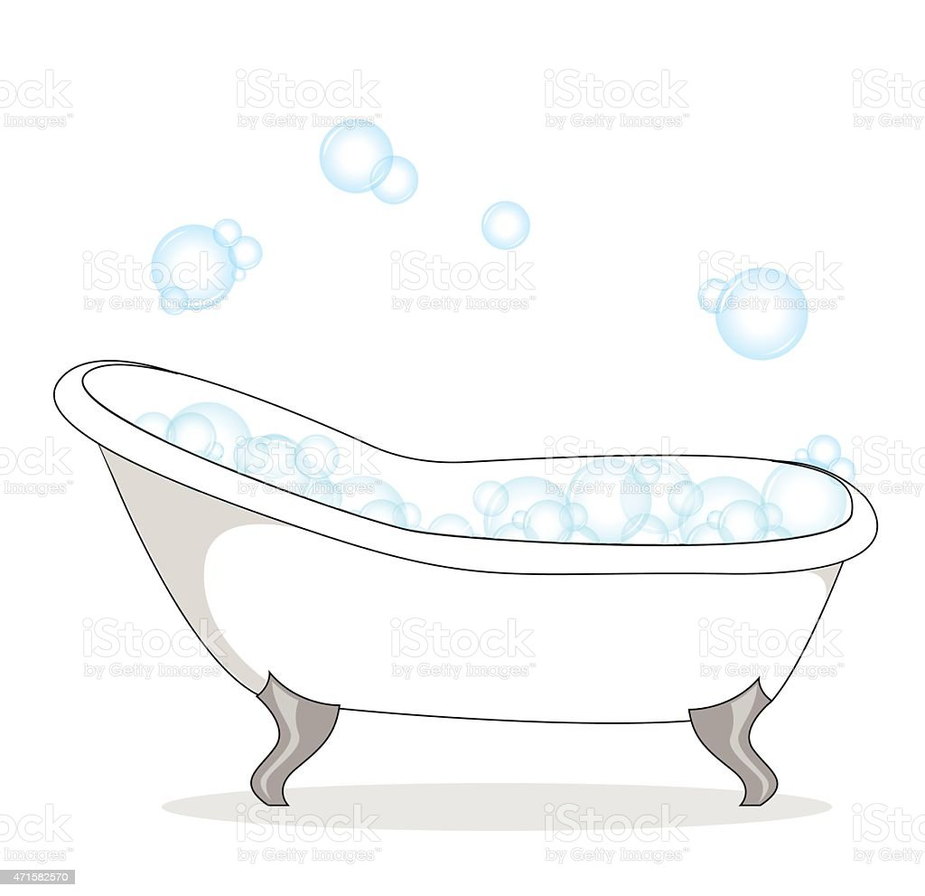 Vector Of Bathtub With Soap Bubble On A White Background
