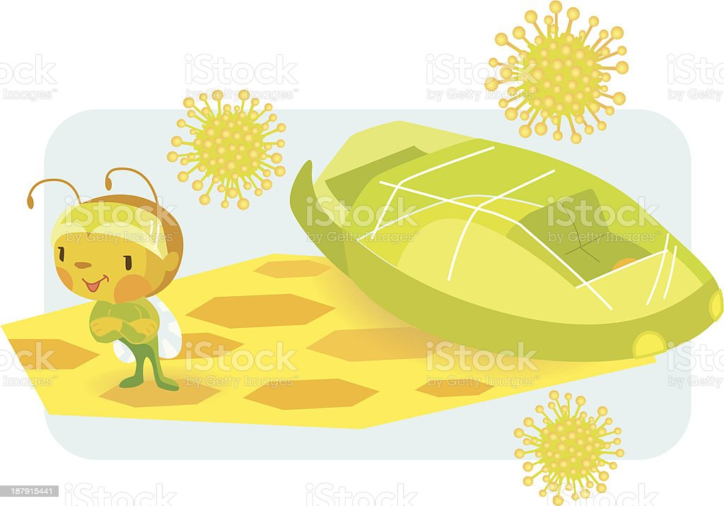 Vector of bee and spaceship on a honeycomb royalty-free stock vector art