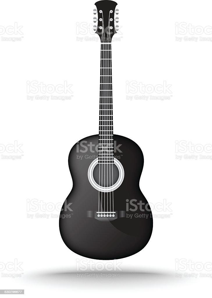 Vector of black acoustic guitar vector art illustration