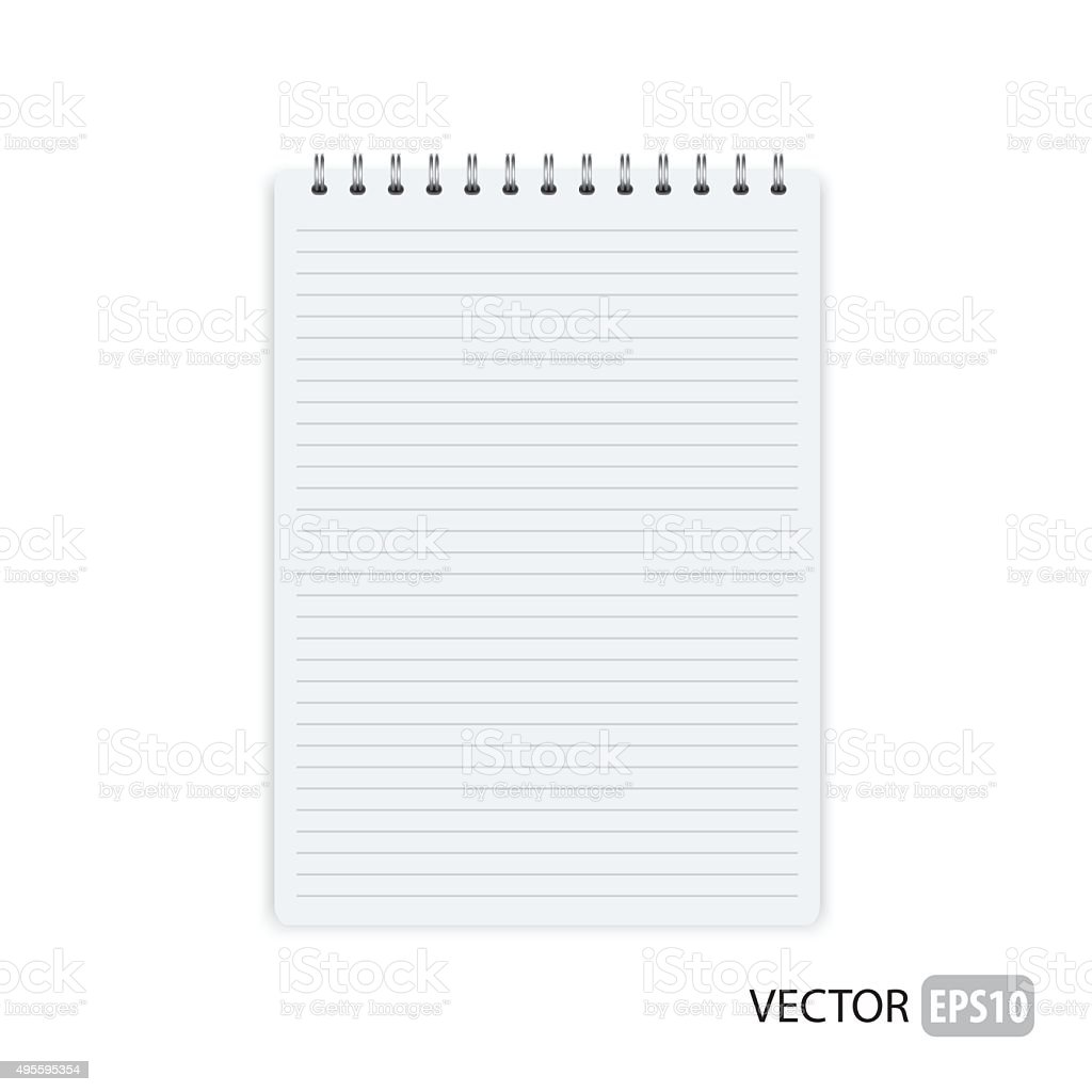 Vector of blank opened note pad. vector art illustration