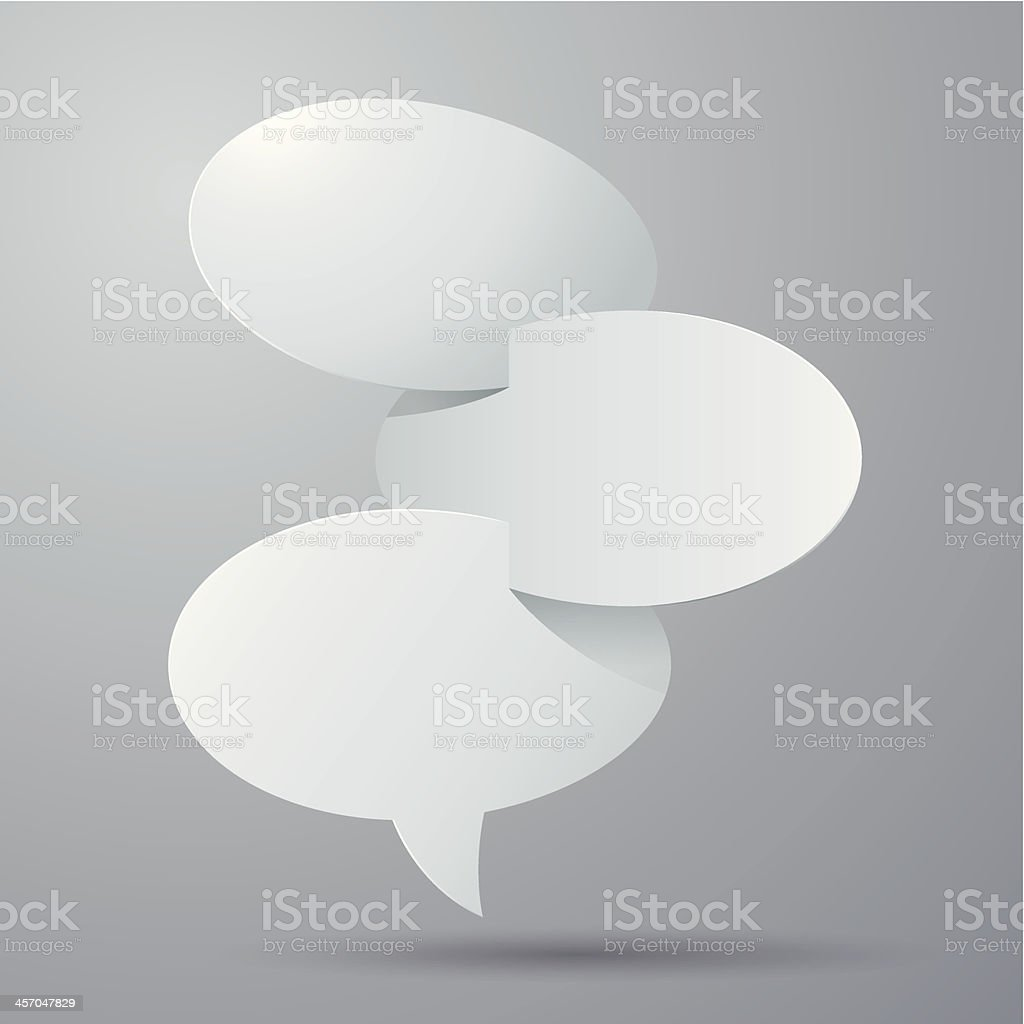 Vector of Blank paper speech bubble card on grey background vector art illustration