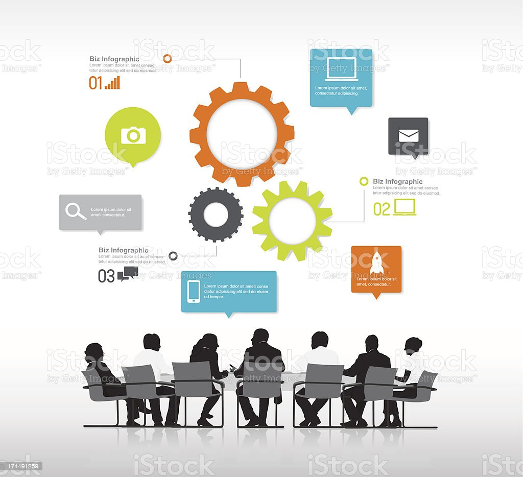 Vector of boardroom meeting and infographics vector art illustration