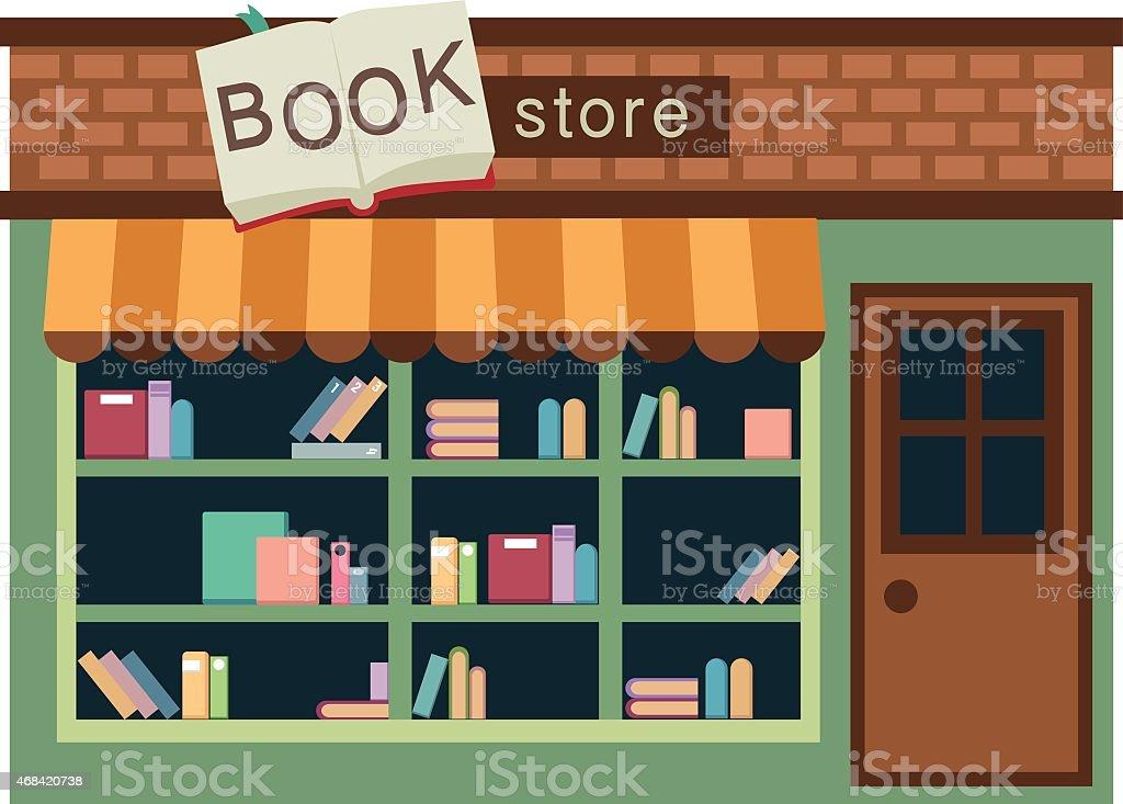 Vector of book store in green with brown door vector art illustration